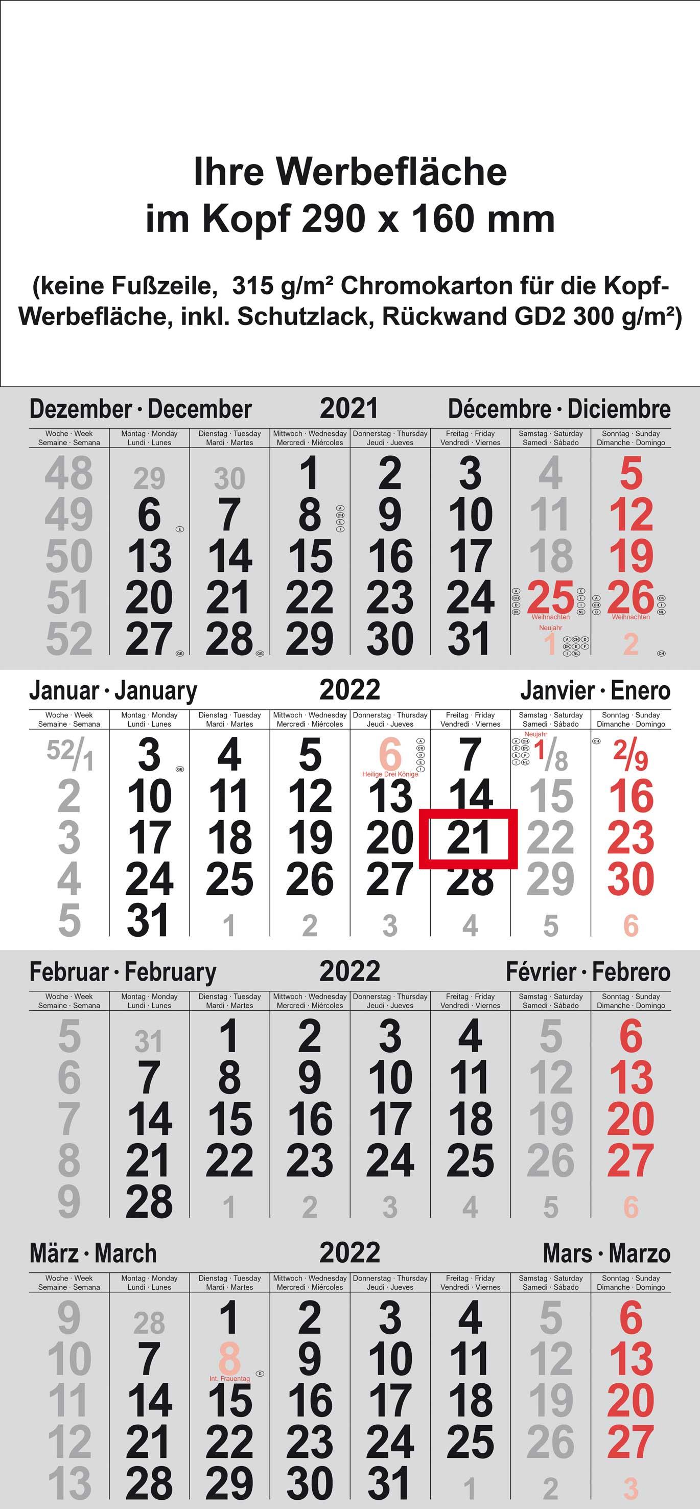 4-Monatskalender S-Format