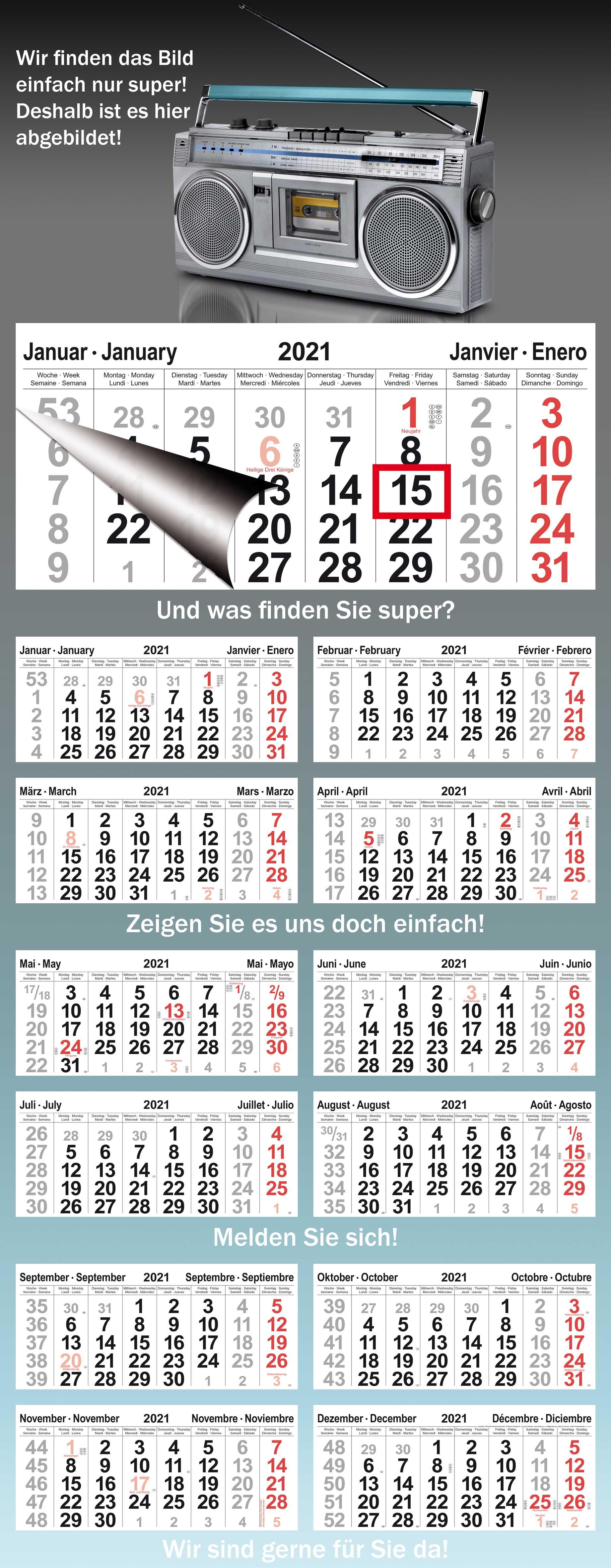 Ein-Block-Monatskalender VISTAS L-Format