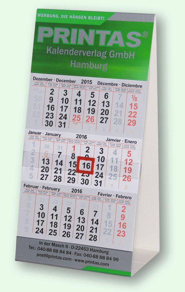 3-Monats Tischkalender Hochformat